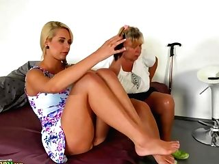 Oldnanny - Blonde Granny With Her Blonde Teenage Gf Masturbating