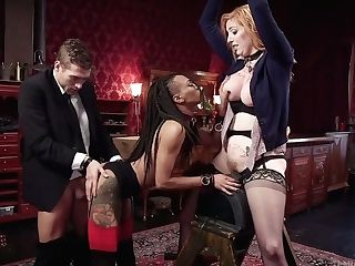 Black Mistress Nikki Darling And Her Assistant Fuck Tied Up Crimson...